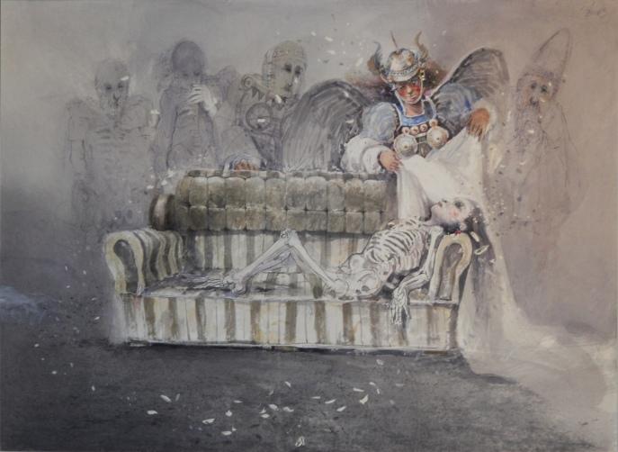 """Javier Fernández P, """"Alas caidas"""", 2014, acuarela."""